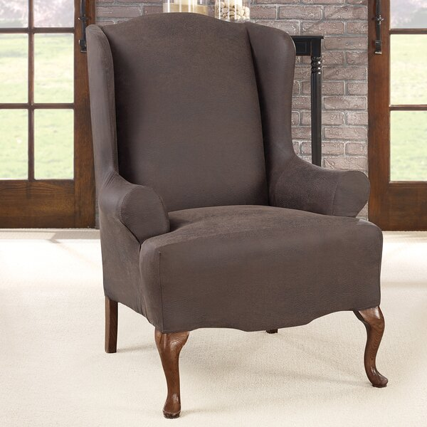 Check Price Ultimate Stretch T-Cushion Wingback Slipcover