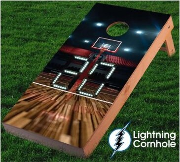Electronic Scoring Basketball Court Cornhole Board by Lightning Cornhole