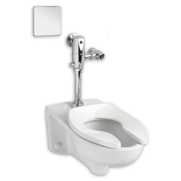 Afwall System Selectronic Exposed AC Flush Valve 1.28 GPF Elongated One-Piece Toilet by American Standard