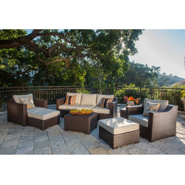 Boyce Patio 9 Piece Rattan Sectional Seating Group with Cushions by Rosecliff Heights