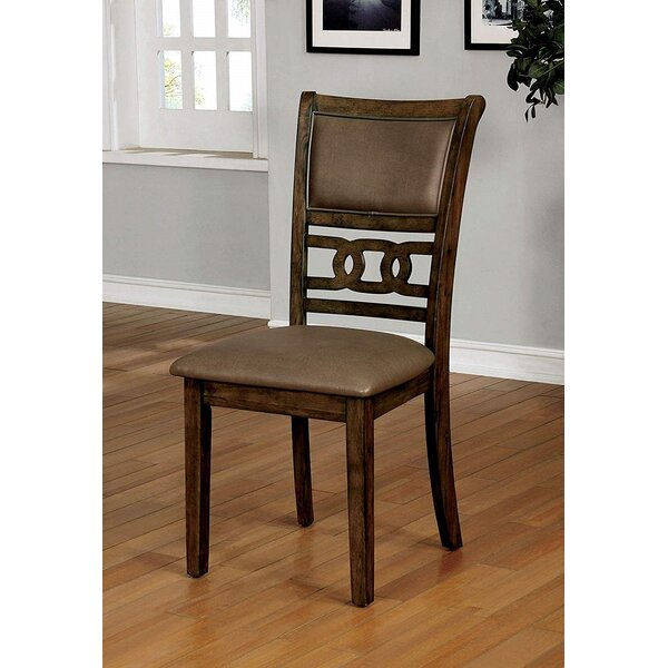 Burney Leather Upholstered Slat Back Side Chair in Satin Walnut (Set of 2) by Foundry Select Foundry Select