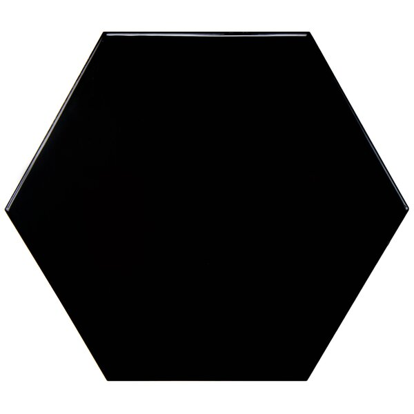 Hexitile 7 x 8 Ceramic Field Tile in Glossy Black by EliteTile