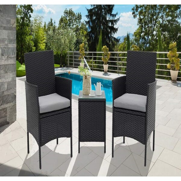 Drayton Outdoor 3-Piece Wicker Bistro Set by Bay Isle Home