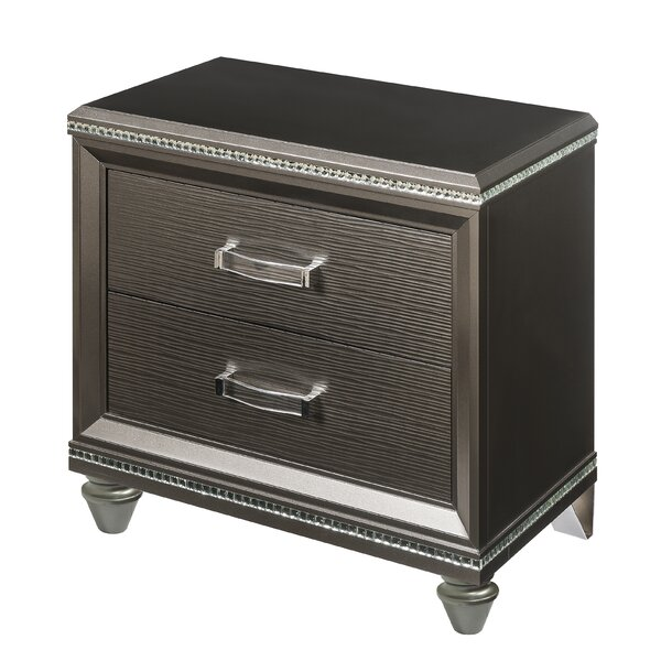 Dulcie 2 Drawer Nightstand by Rosdorf Park