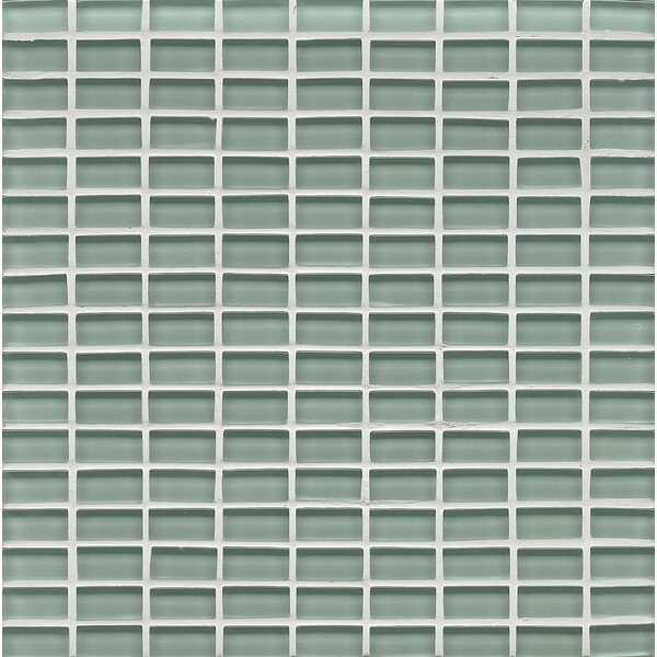 Harbor Glass Mosaic Mini Brick Gloss Tile in Tide by Grayson Martin