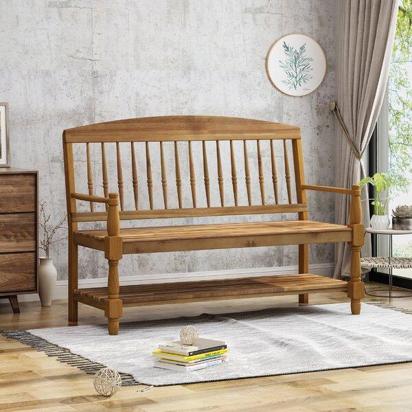Julianna Indoor Farmhouse Acacia Wood Storage Bench by Alcott Hill