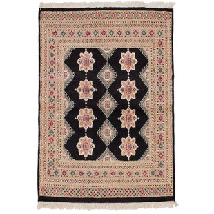 Reviews One-of-a-Kind Do Hand-Knotted 4'2 x 5'11 Wool Black/Beige Area Rug By Isabelline