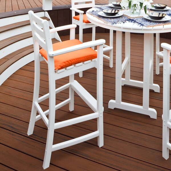 Monterey Bay 47.13 Patio Bar Stool with Cushion by Trex Outdoor