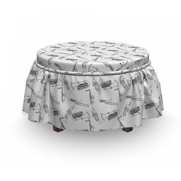 Jazz Music Doodle Trumpet Blues 2 Piece Box Cushion Ottoman Slipcover Set By East Urban Home