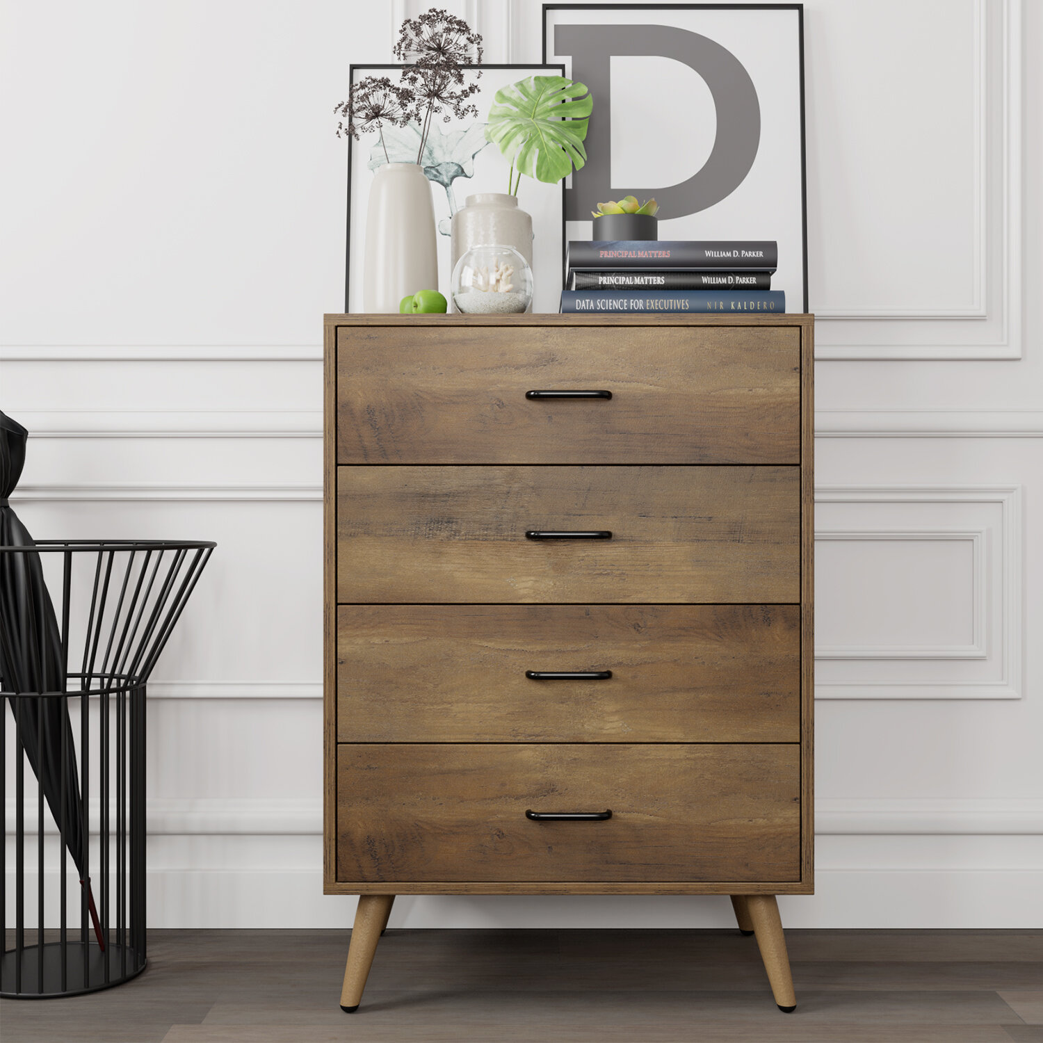 Corrigan Studio 4 Drawer Dresser Rustic Wood Chest Of Drawers For Bedroom Dresser Chest With Wide Storage Space Tall Nightstand Multifunctional Organizer Unit Accent Furniture For Living Room Home Office Reviews