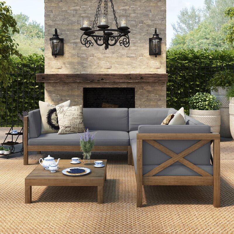 Lark Manor Lejeune 4 Piece Sofa Set with Cushion & Reviews | Wayfair