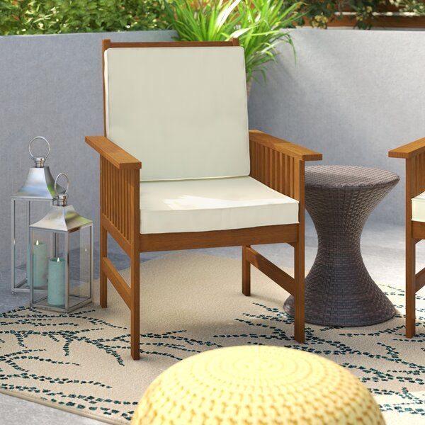 Arianna Outdoor Hardwood Chair with Cushion by Langley Street