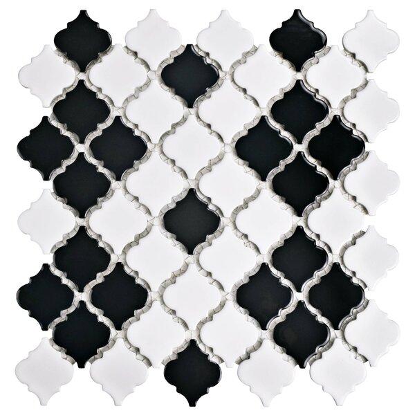 Pharsalia 2 x 2.5 Porcelain Mosaic Tile in Black/White by EliteTile