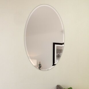 Big Save Oval Beveled Polish Frameless Wall Mirror with Hooks By Fab Glass and Mirror