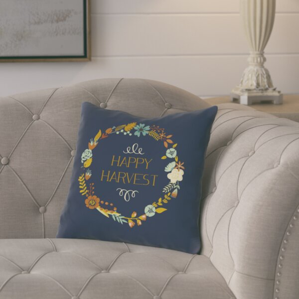 Happy Harvest Wreath Throw Pillow by August Grove