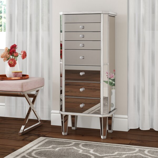 Pollark Free Standing Jewelry Armoire with Mirror by House of Hampton