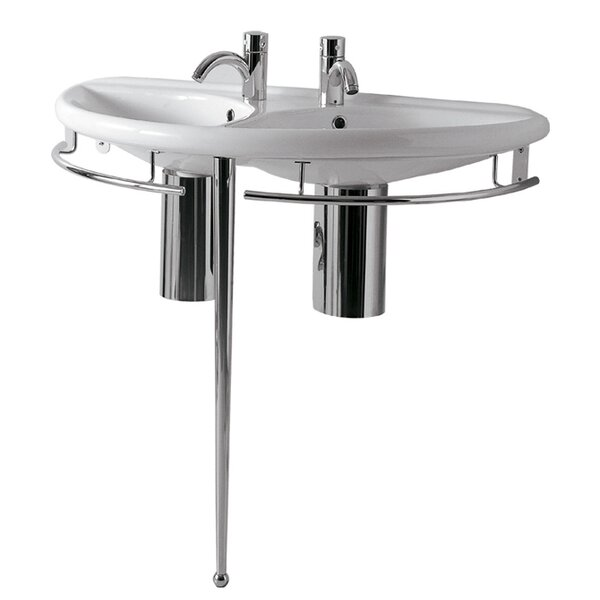 China Ceramic 38 Console Bathroom Sink with Overflow by Whitehaus Collection