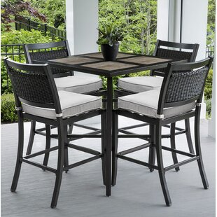 Dreketi Aluminum and Porcelain Square Bar 5 Piece Pub Table Set By Red Barrel Studio