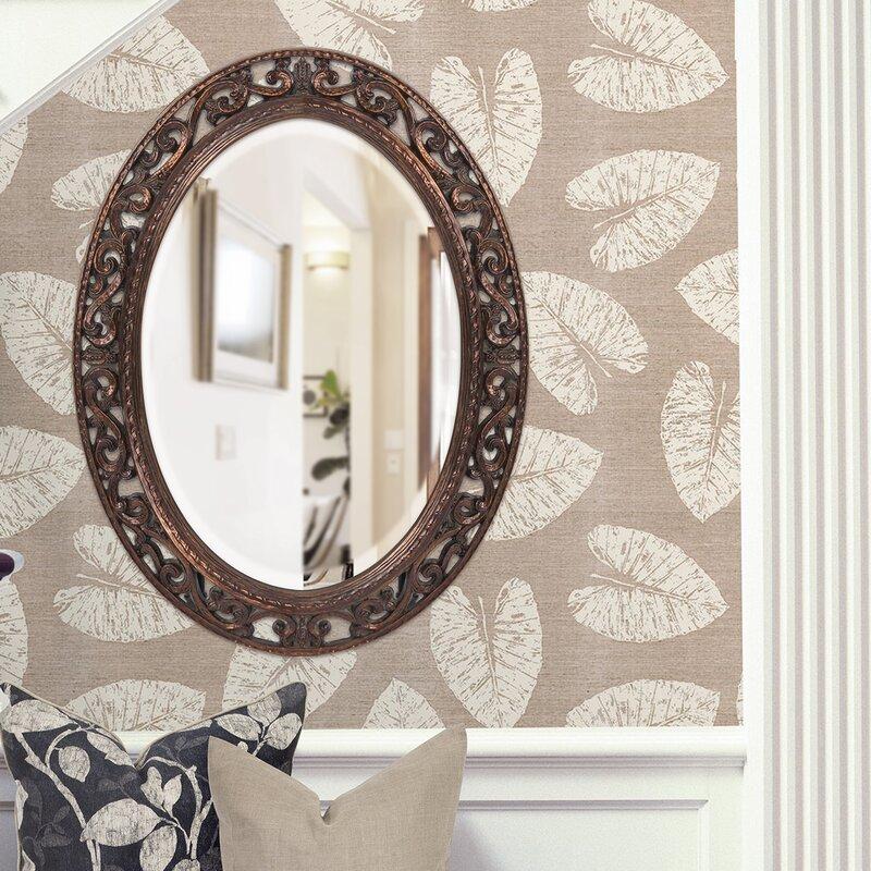Astoria Grand Oval Antique Bronze Wall Mirror & Reviews ...