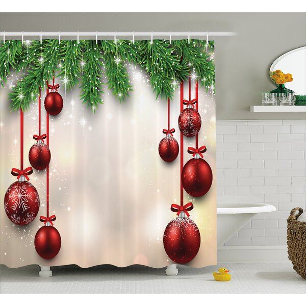 Christmas Red Balls Ribbons Shower Curtain by The Holiday Aisle