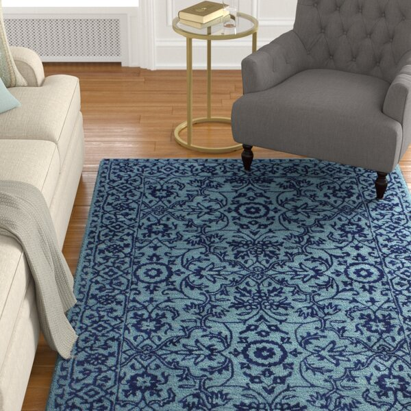 Hiebert Hand-Woven Wool Blue Area Rug by Alcott Hill