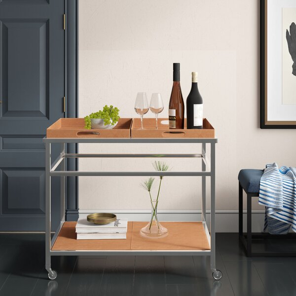 Hansley Rectangle Leather Bar Cart by Mercury Row