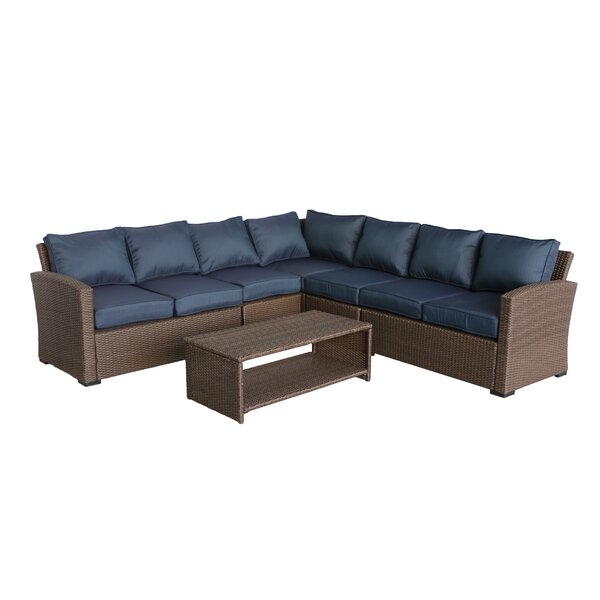 Behan 6 Piece Rattan Sectional Seating Group with Cushions by Orren Ellis