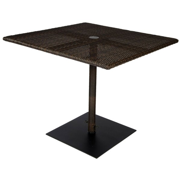 All-Weather Square Umbrella Dining Table with Weighted Base by Woodard