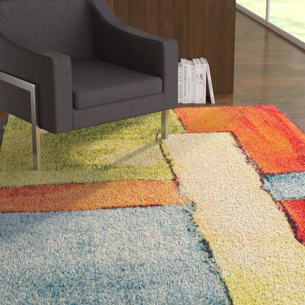 Wagner Soft Yellow/Orange Area Rug by Ebern Designs