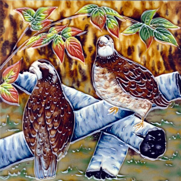 Brown Birds On Tree Tile Wall Decor by Continental Art Center