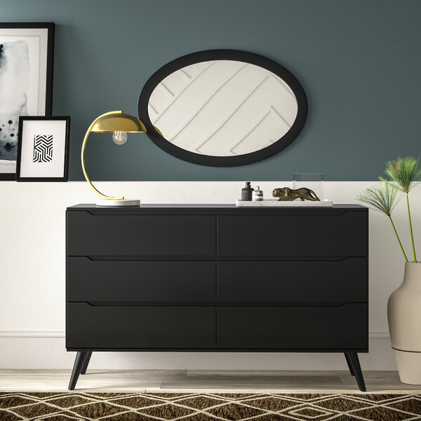 Eisen 6 Drawer Double Dresser with Mirror by Mercury Row