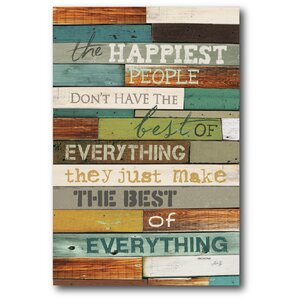 'The Happiest' Textual Art on Wrapped Canvas by Winston Porter