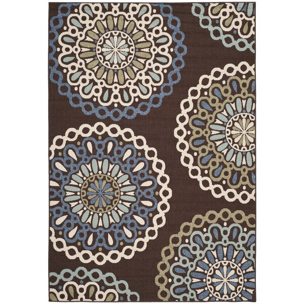 Leonard Blue/Chocolate Indoor/Outdoor Area Rug by Charlton Home