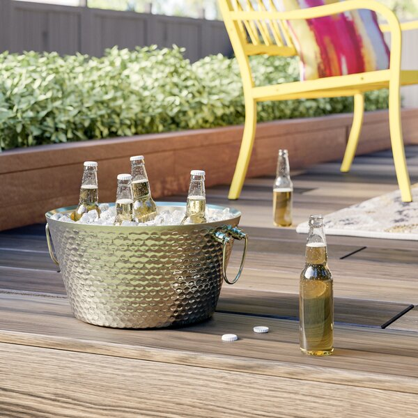 Trevor Double Walled Hammered Steel Beverage Tub b