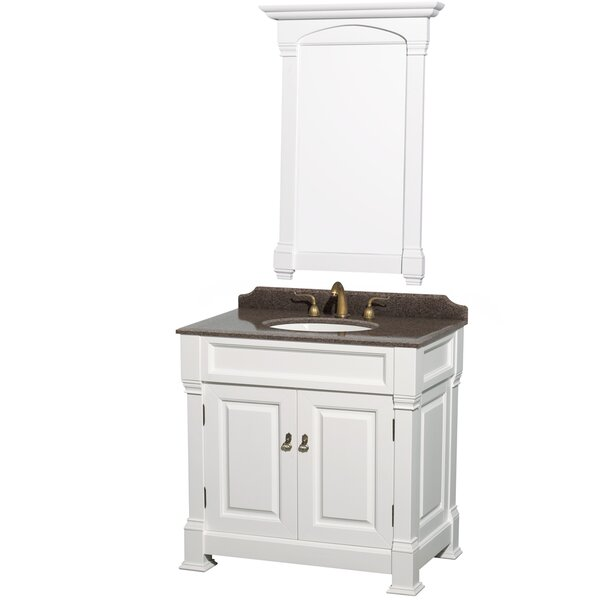 Andover 36 Single White Bathroom Vanity Set with Mirror by Wyndham Collection