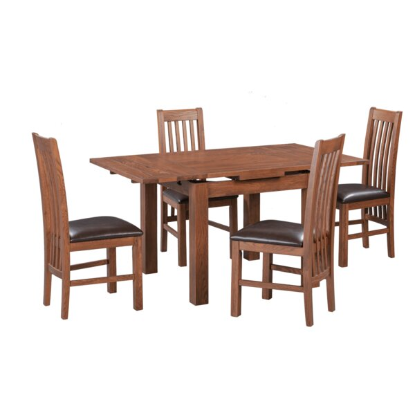 Acklin 5 Piece Extendable Solid Wood Dining Set By Millwood Pines