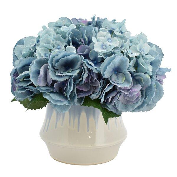 Hydrangeas Bouquet Floral Arrangement in Pot by August Grove