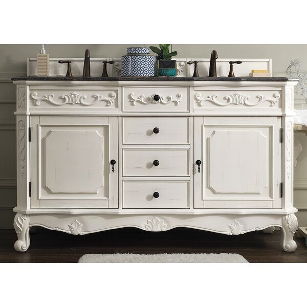 Vendome 60 Double White Bathroom Vanity Set by Astoria Grand