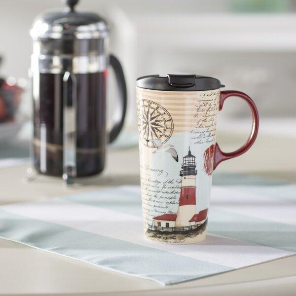 Warren Northeast Lighthouse 17 oz. Ceramic Travel Cup by Breakwater Bay
