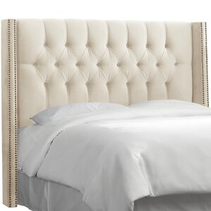 Aura Traditional Diamond Tufted Upholstered Wingback Headboard by Willa Arlo Interiors