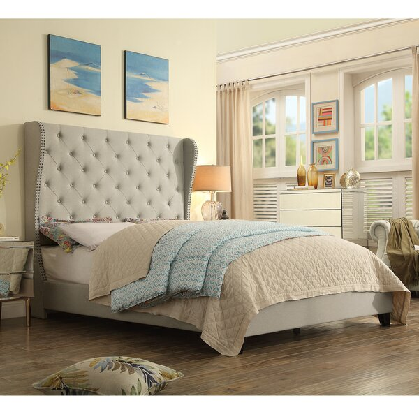 StowtheWold Tufted Solid Wood and Upholstered Standard Bed by Three Posts Three Posts