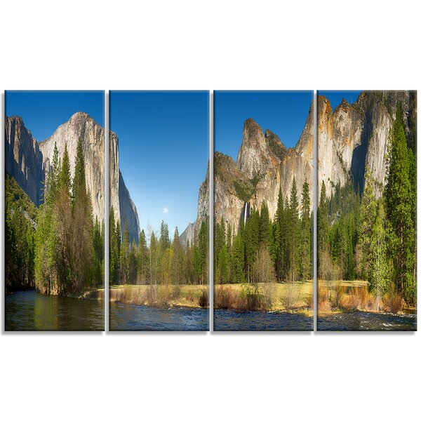 Yosemite Valley Panorama Landscape 4 Piece Photographic Print on Wrapped Canvas Set by Design Art