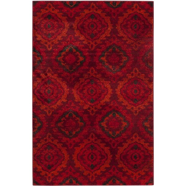 Luoma Red Area Rug by Bungalow Rose
