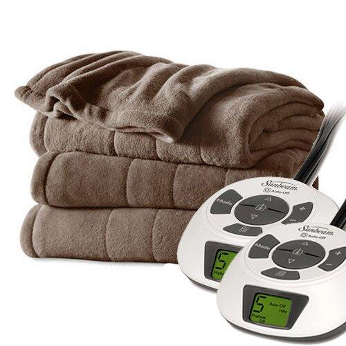 Channeled Velvet Plush Electric Heated Blanket by Bell + Howell