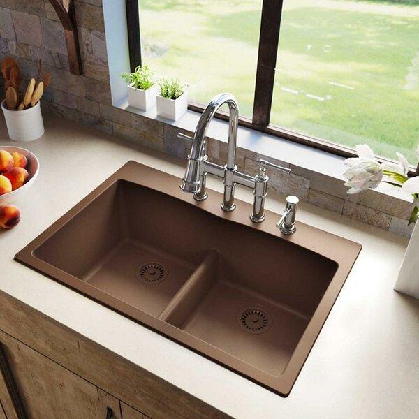 Quartz Classic 33 L x 22 W Double Basin Drop-In Kitchen Sink