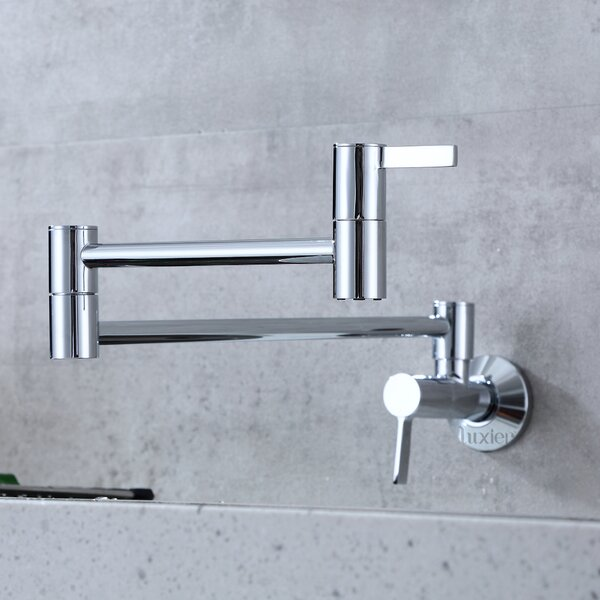Two Handles Wall Mount Pull Out Pot Filler by Luxier