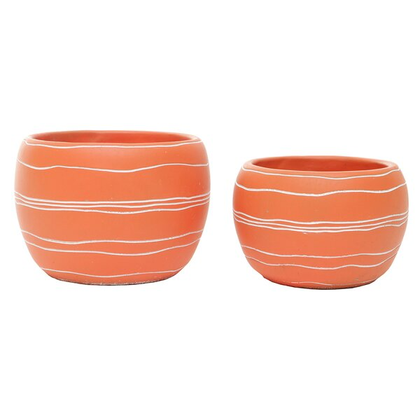 Fegley Retro Chic Concrete 2-Piece Pot Planter Set by Ebern Designs