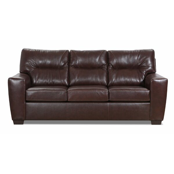 Oleary Leather Sofa Bed by Williston Forge