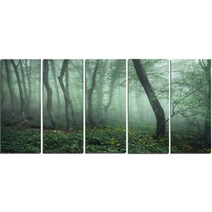 Trail Through Forest 5 Piece Photographic Print on Wrapped Canvas Set in Dark Foggy by Design Art