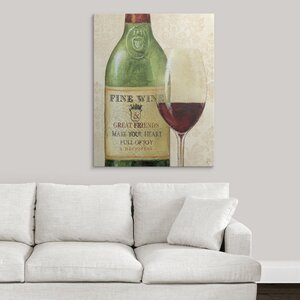 Wine Quotes I by Daphne Brissonnet Graphic Art Print on Wrapped Canvas by Great Big Canvas